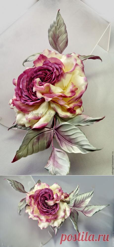Купить Брошь Violet gift (японский шелк) - фиолетовая брошь, фиолетовый цветок, фиолетовая роза