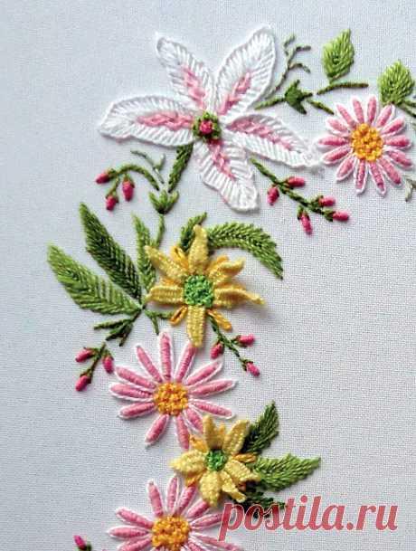 Объемные 3d-листочки (лепесточки) в бразильской вышивке | ВЕРА БУРОВА | Яндекс Дзен
