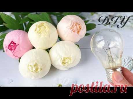 Цветы из фоамирана Пион Лепестки на лампочке / How to make flowers Peony foam paper/ Flores de foami