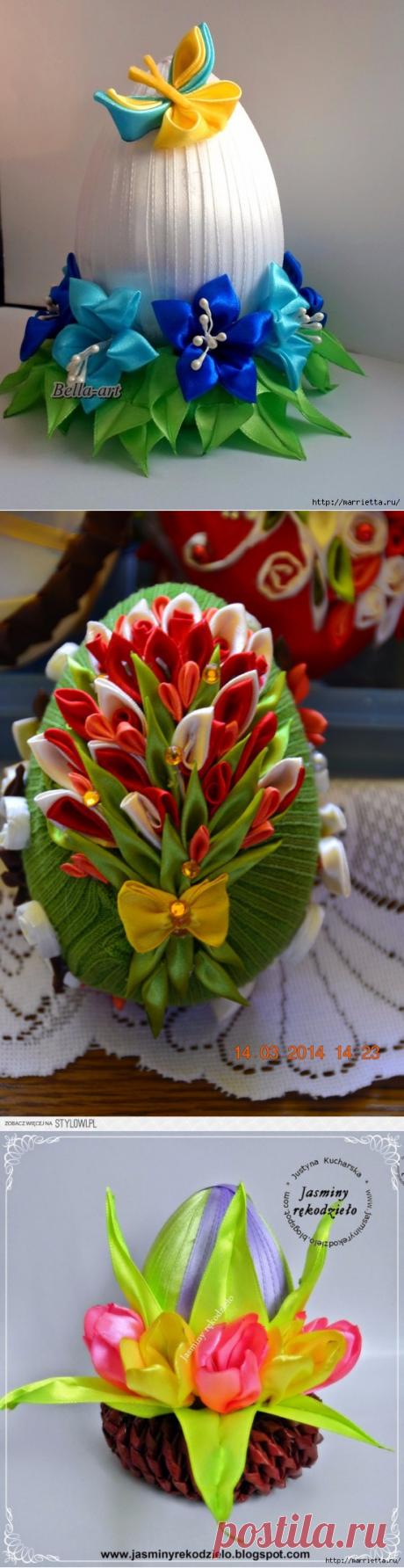 Шёлковые пасхальные яйца с цветами Канзаши