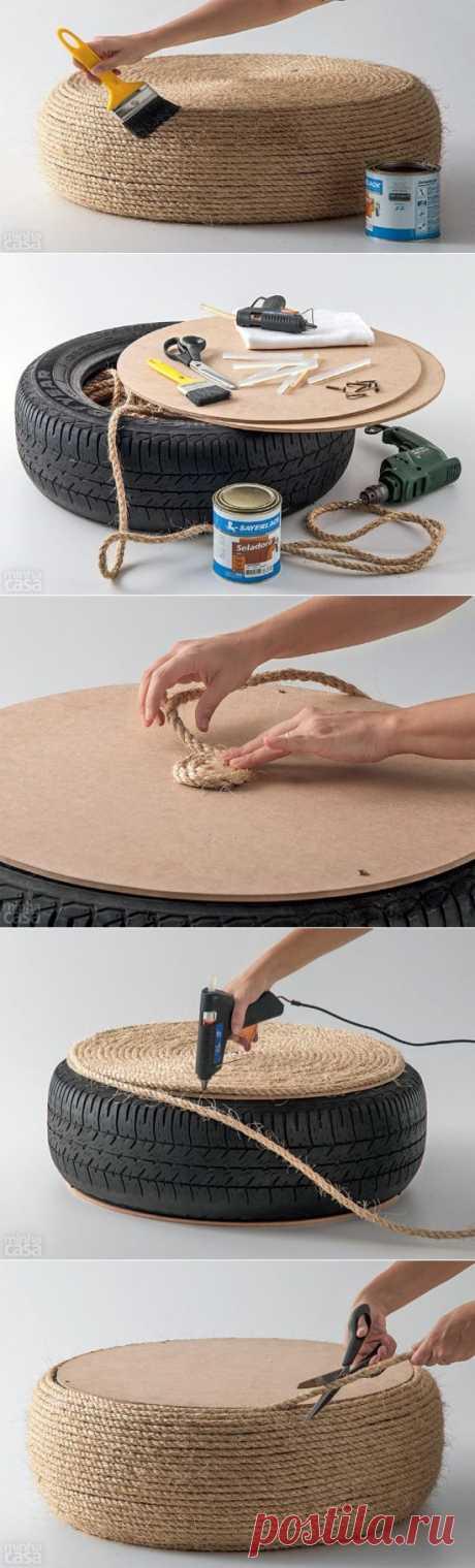 Как сделать пуф из старой шины | Ladiesvenue