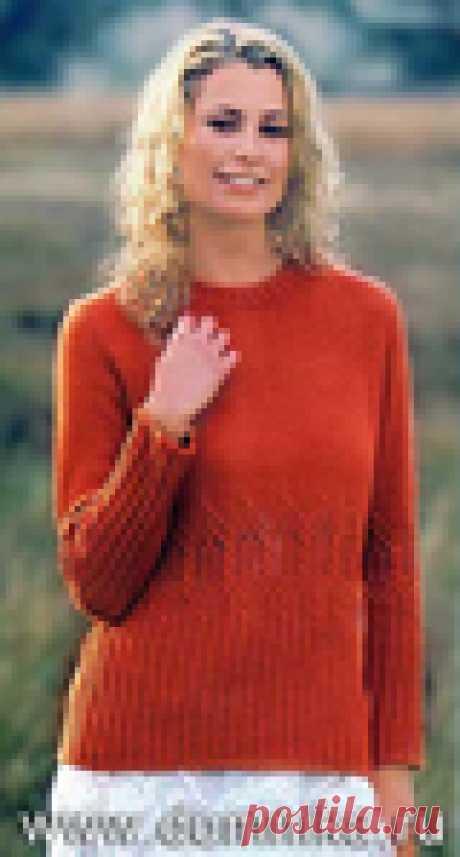 Вязание спицами. Пуловер с ажурной вставкой.