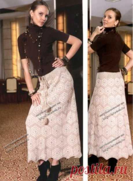 Длинная юбка – клеш из мотивов, Вязание для женщин
