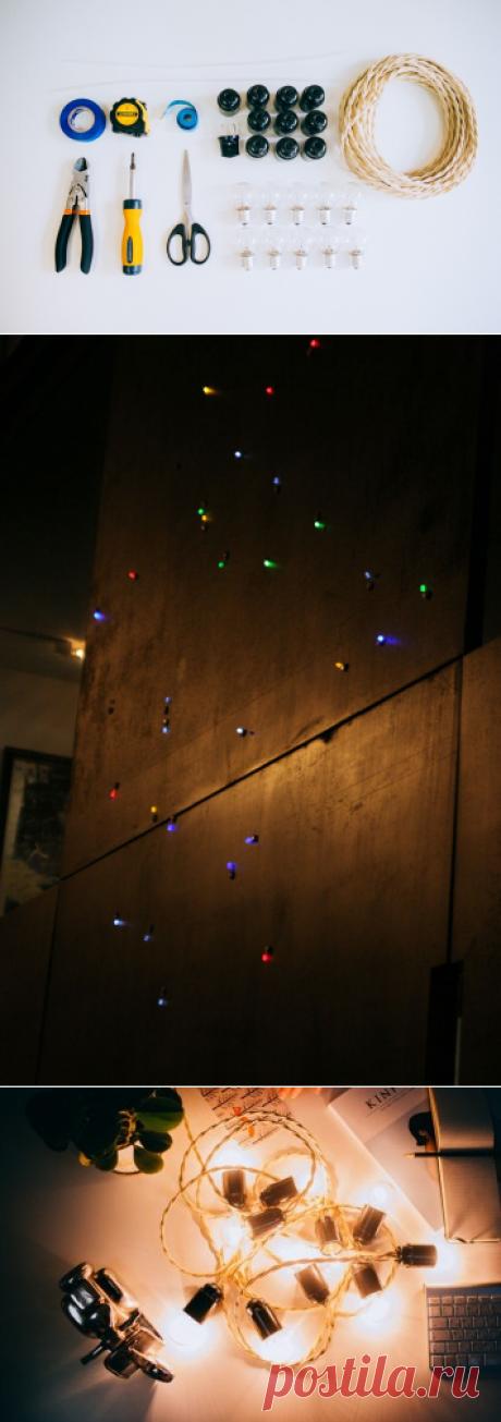 Как сделать гирлянду из лампочек и светодиодов своими руками