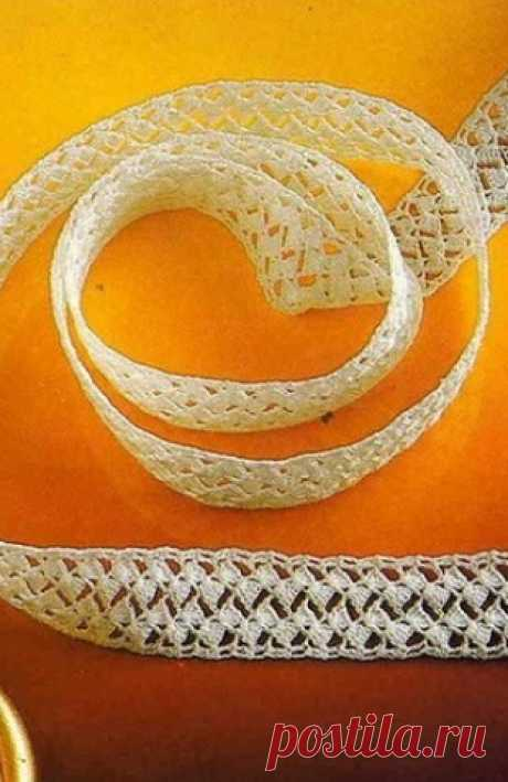 Кружевная тесьма крючком. Схема. / knittingideas.ru