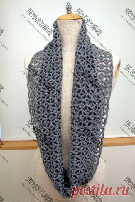 Ажурный шарф-хомут крючком | Мои Петельки