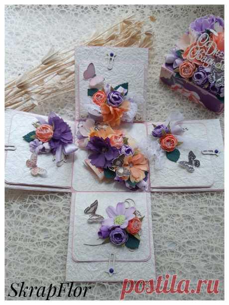Цветочная коробочка, которая сможет впечатлить! В такой коробочке можно подарить денежный подарок, украшение или просто написать слова благодарности или поздравления.