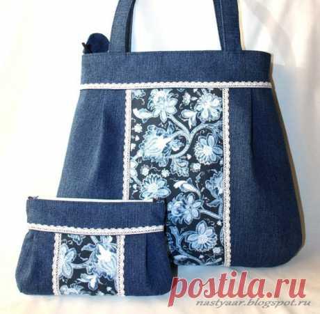 Джинсовая сумка и косметичка