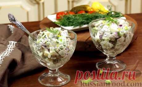 """Рецепт: Салат """"Сельдь по-баварски"""" с яблоком на RussianFood.com"""