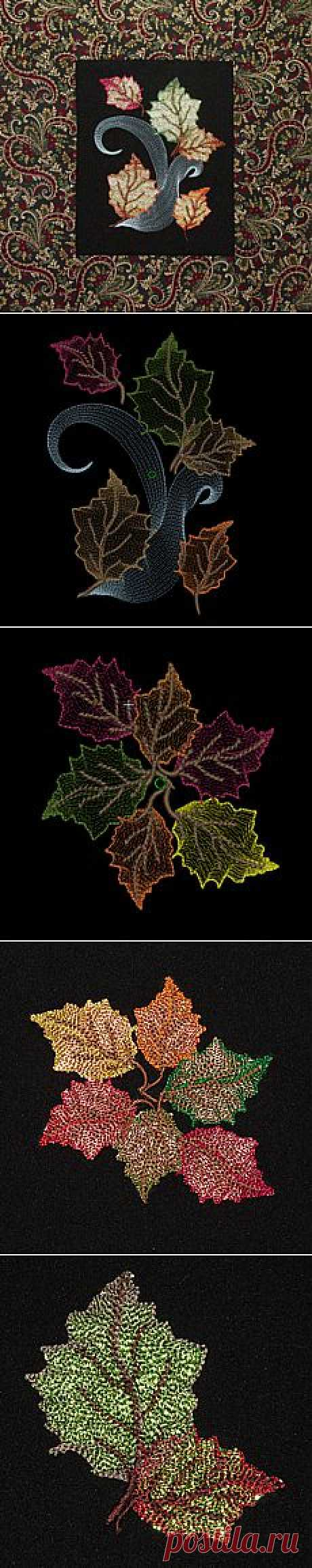 fall leaf leaves embroidery mylar angelina film contour design exclusive