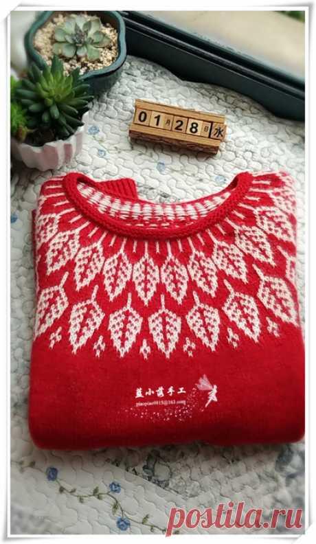 """пуловер с кокеткой """"листья"""""""