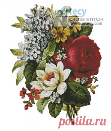 Artecy Cross Stitch. Flower Bouquet Cross Stitch Pattern to print online.