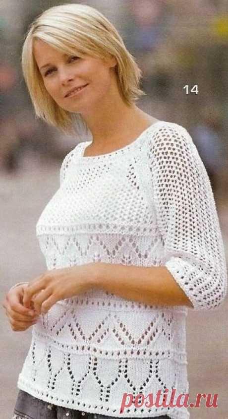 Белый пуловер-реглан ажурным и сетчатым узором