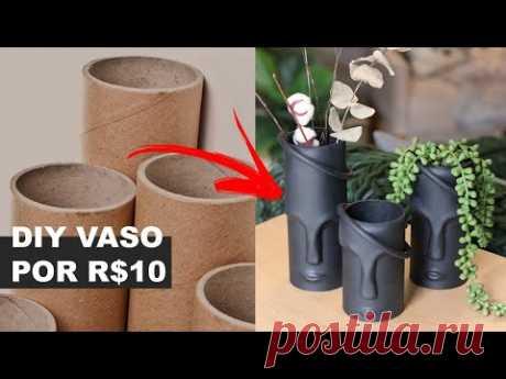 APRENDA FAZER VASO CABEÇA GASTANDO MENOS DE R$10 REAIS | REAPROVEITANDO TUBO DE PAPELÃO