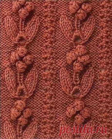Узоры спицами: объемные цветы-шишечки с листьями. Схема | Блог elisheva.ru