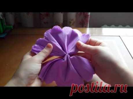 Красивый цветок из гофрированной бумаги (легко)