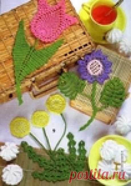 Очаровательные аппликации цветов, выполненные крючком!