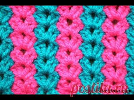 Free crochet pattern two colors vertical stripes blanket afghan rug stitch by marifu6a