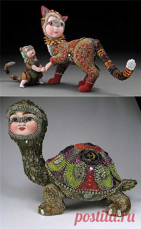 Бисерные скульптуры Betsy Youngquist. Анималистичные скульптуры.