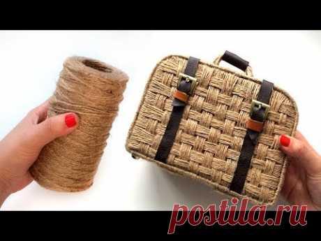 Декоративный чемоданчик | Плетение из джута