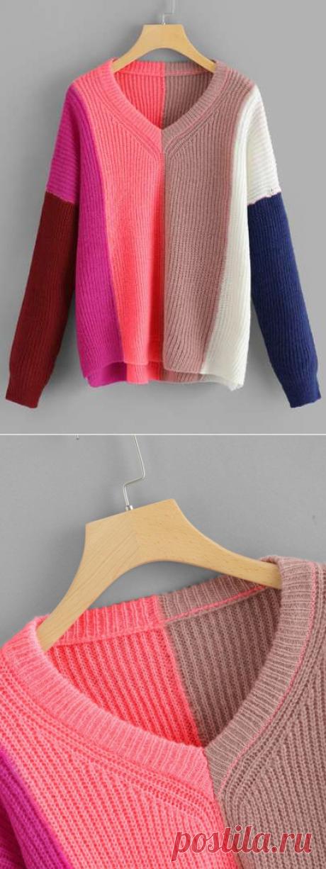 V Neck Color Block Sweater | SHEIN USA