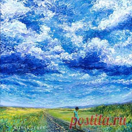Картины американской художницы Айрис Скотт сияют чистотой и яркостью красок, а синева напоминает прохладу воды в летний зной. Рисует Айрис не классическим способом, а своими пальчиками.