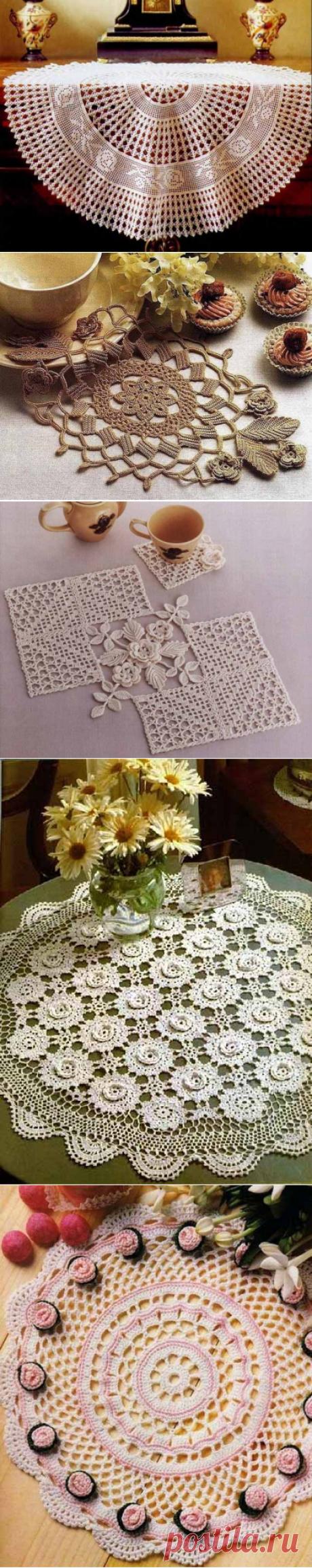 Красивые и необычные салфетки с цветами крючком со схемами | Уют и тепло моего дома