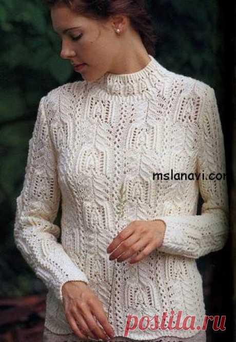 Белый вязаный пуловер - Вяжем с Лана Ви Пуловер совершенно очаровательный, и очень хорошо смотрится как с юбочкой, так и брюками или джинсами, если для молодежи :). Возможно вы захотите связать из него классическое платье. Мне кажется, очень будет красивое платьице. Белый вязаный пуловер в ажурах. Размеры: 44 обхват груди – 90 см ширина спинки по плечам – 35 см длина изделия – […]