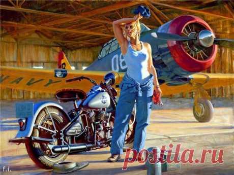 Роскошные мотоциклы и раскованные девушки Дэвида Уля | Цветное Море | Яндекс Дзен