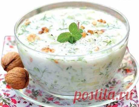 The vitamin, refreshing summer soup. Bulgarian soup Tarator