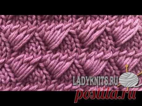 "Узор спицами «Треугольники из вытянутых петель»/Knitting pattern ""Triangles from elongated loops""."