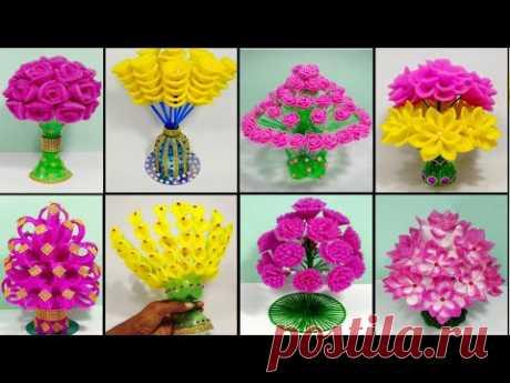 8 BEST GULDASTA DESIGN/GULDASTA/Guldasta banane ki Vidhi/NEW DESIGN FOAM GULDASTA/WASTE PLASTICS