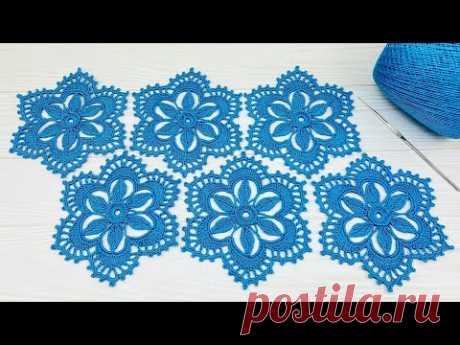 Ажурный МОТИВ крючком мастер-класс по вязанию Crochet flower motif patterns tutorial