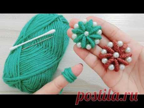 طريقة عمل وردة جميلة وسهلة / التطريز اليدوي/ Easy flower with Hand Embroidery  amazing trick - YouTube
