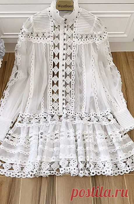 Vestido/Túnica Elegante Bordado, Renda, 2peças, Luxo W200902 - Material: 100% algodão