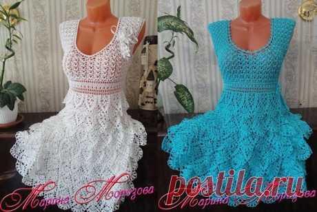 Красивейшее платье с оборками. Схемы