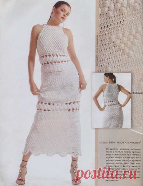 Кружевное платье крючком из шишечек. Связать платье крючком схемы