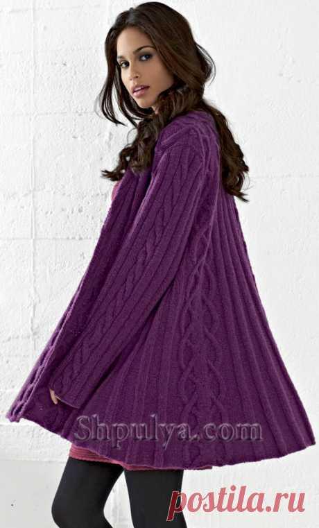www.SHPULYA.com - Расклешенное пальто с капюшоном и узором из кос