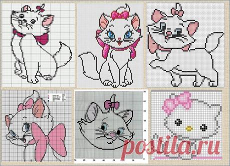 100 схем с котиками и кошечками