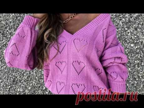 НОВОЕ! Модный Шикарный Осенний Удлиненный Пуловер спицами Сердца. МК Узор Схема Выкройка