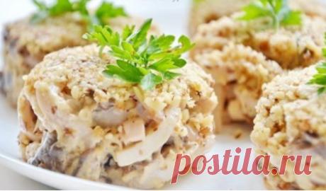 Ореховый салат с кальмарами » Жрать.ру