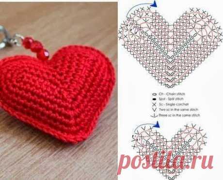 """Романтичный брелок """"Сердечко"""", вяжем крючком из категории Интересные идеи – Вязаные идеи, идеи для вязания"""