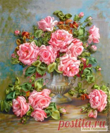 Розы в серебряной вазе – купить в интернет-магазине на Ярмарке Мастеров с доставкой Розы в серебряной вазе - купить или заказать в интернет-магазине на Ярмарке Мастеров | Вышивка лентами послужит интересным дополнением…