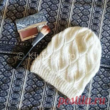 Шапочка с интересным узором | Вязание для женщин | Вязание спицами и крючком. Схемы вязания.