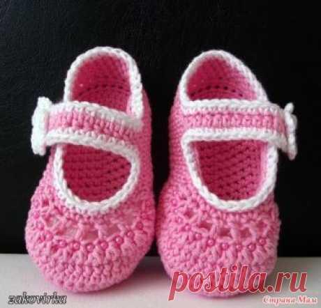 Пинетки-туфельки для маленькой принцессы (мастер-класс) Здравствуйте, странамамочки!  На просторах нашей необъятной Страны мам (https://www.stranamam.ru/ я увидела вот такие пинеточки-туфельки и сразу же влюбилась в них