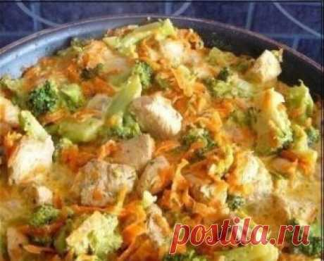 Software dinner: chicken with broccoli and carrots, stewed in cream we Eat only useful dishes!
