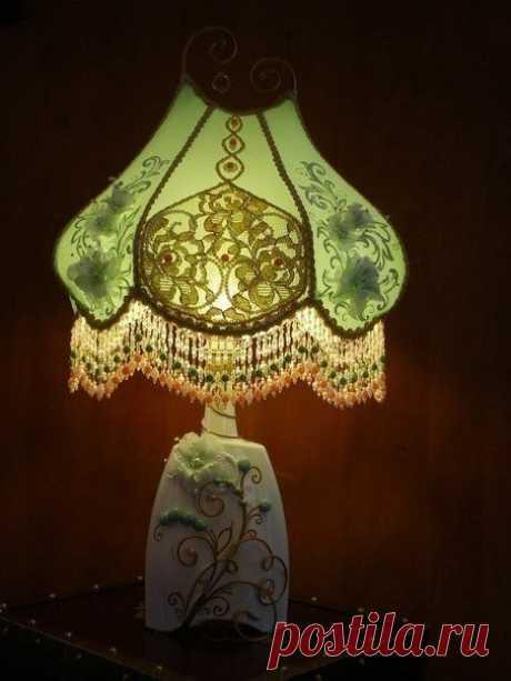 Роскошный светильник в ретро стиле из стеклянной бутылки