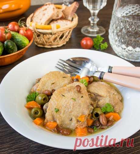 Пошаговый фото-рецепт тушеной курицы с оливками и фасолью | Вкусный блог - рецепты под настроение