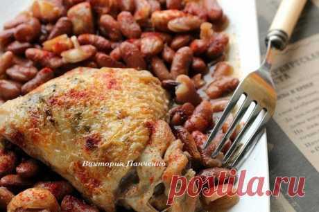 Рагу из курицы с фасолью и запеченным чесноком | Foodbook.su Вариант вкусного сытного ужина...