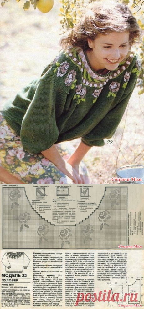* the Pullover with the round coquette - Jacquard - the Country of Mothers